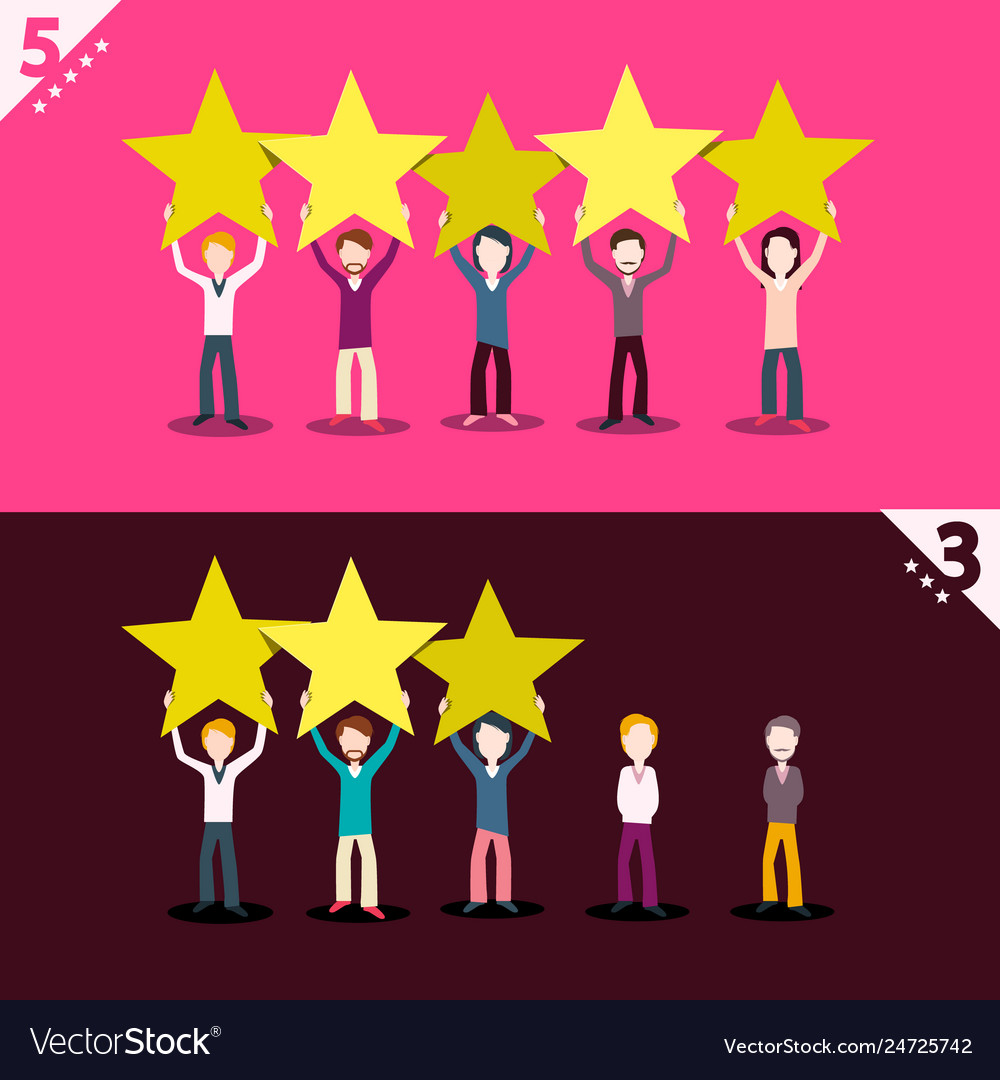 3 and 5 rating stars with people holding them