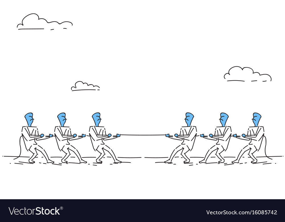 Businesspeople group team pulling rope business vector image