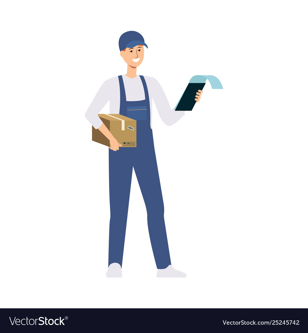 Delivery man or courier with a cardboard box and