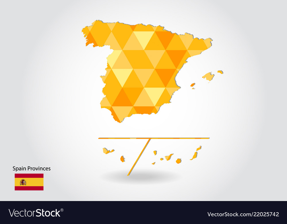 Spain Map Of Provinces.Geometric Polygonal Style Map Of Spain Provinces Vector Image