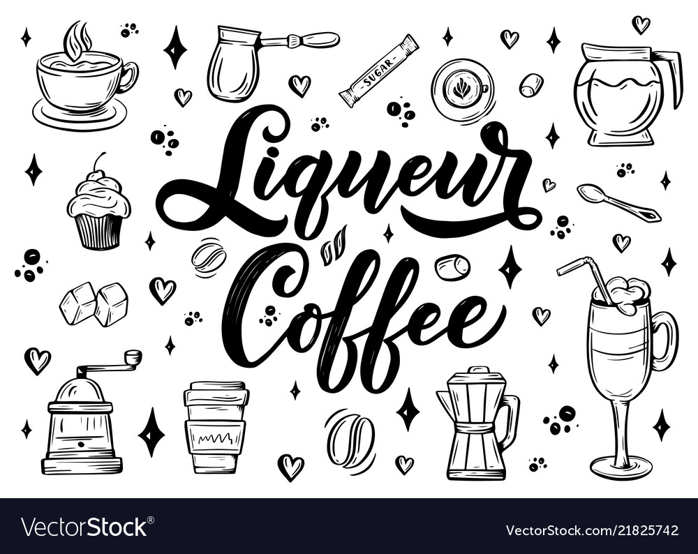 Hand lettering name of coffee with sketch for