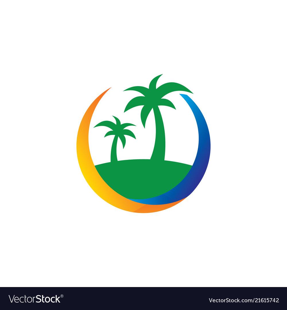 Island palm tree travel business