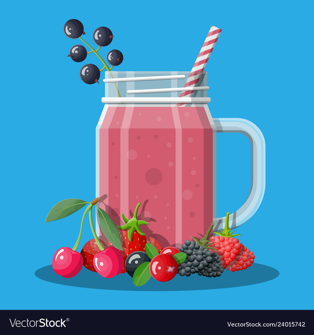 Jar with mixed berries smoothie with striped straw