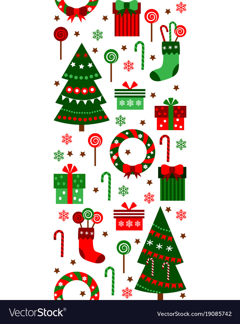 merry christmas and happy new year vertical border vector image