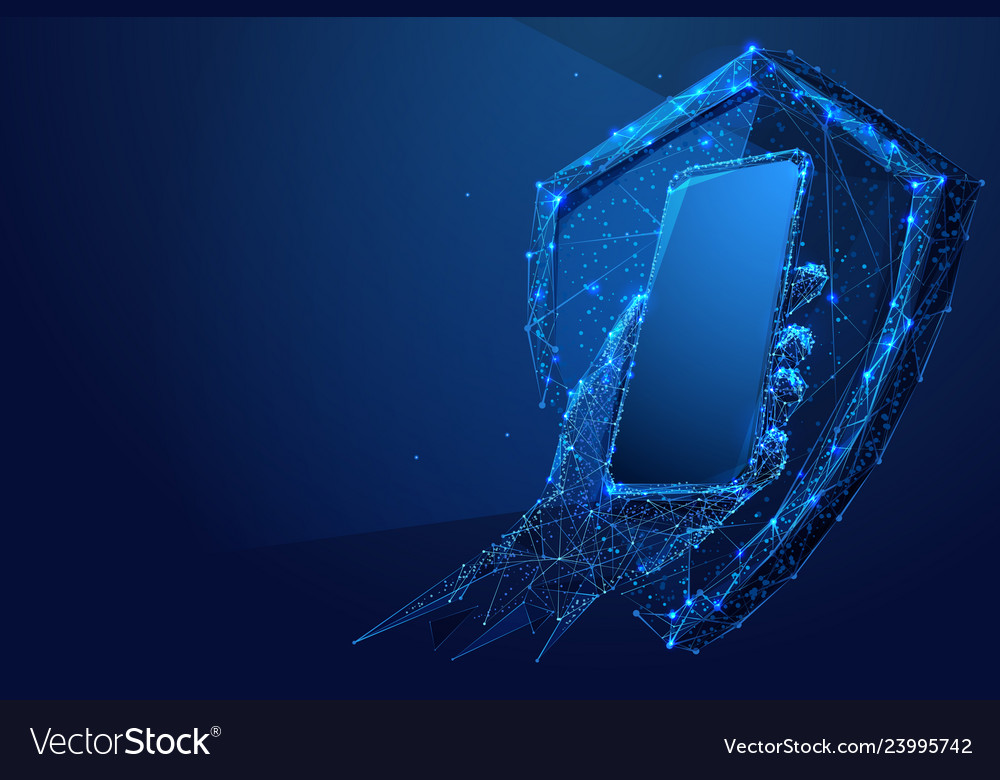 Phone in hand and shield low-poly blue