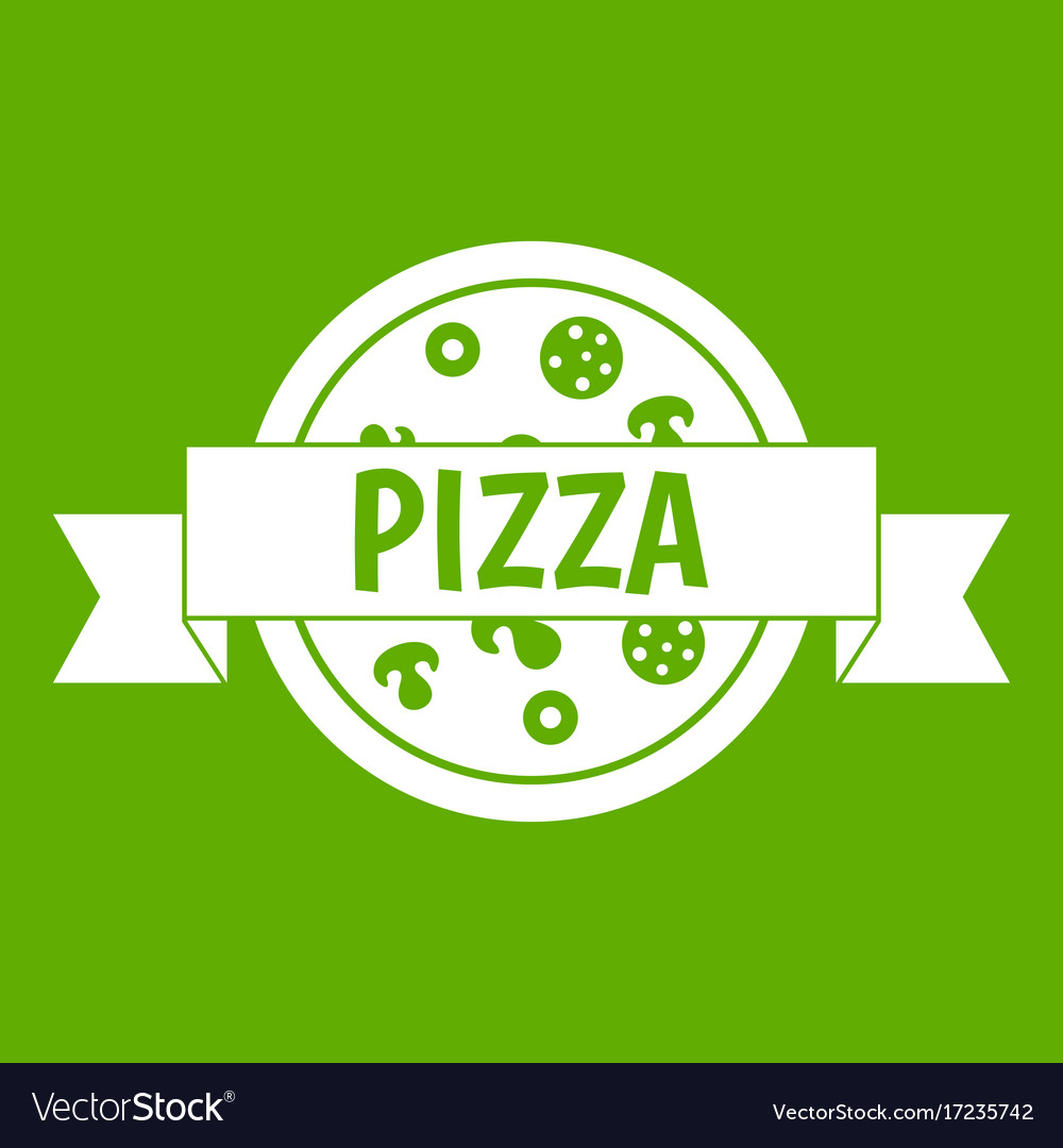 Pizza label with ribbon icon green