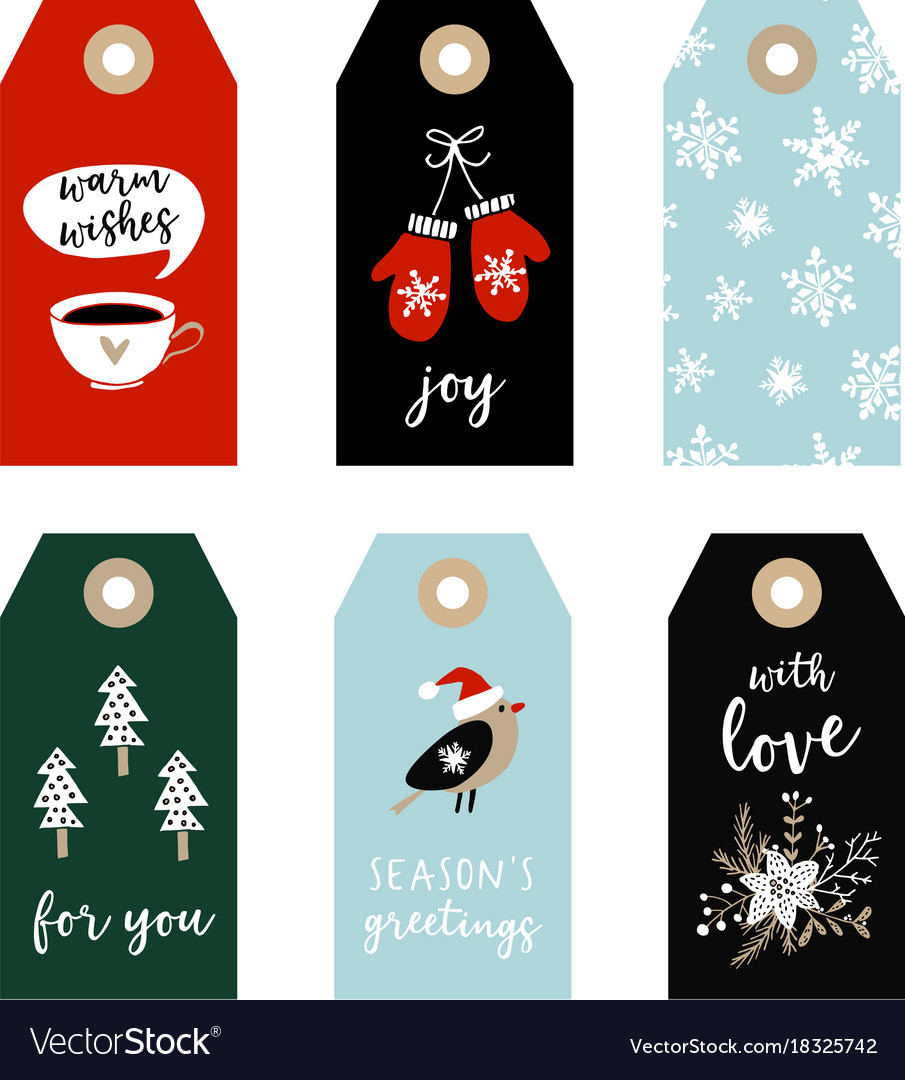 Christmas Gift Tags.Set Of Cute Christmas Gift Tags Labels With Bird