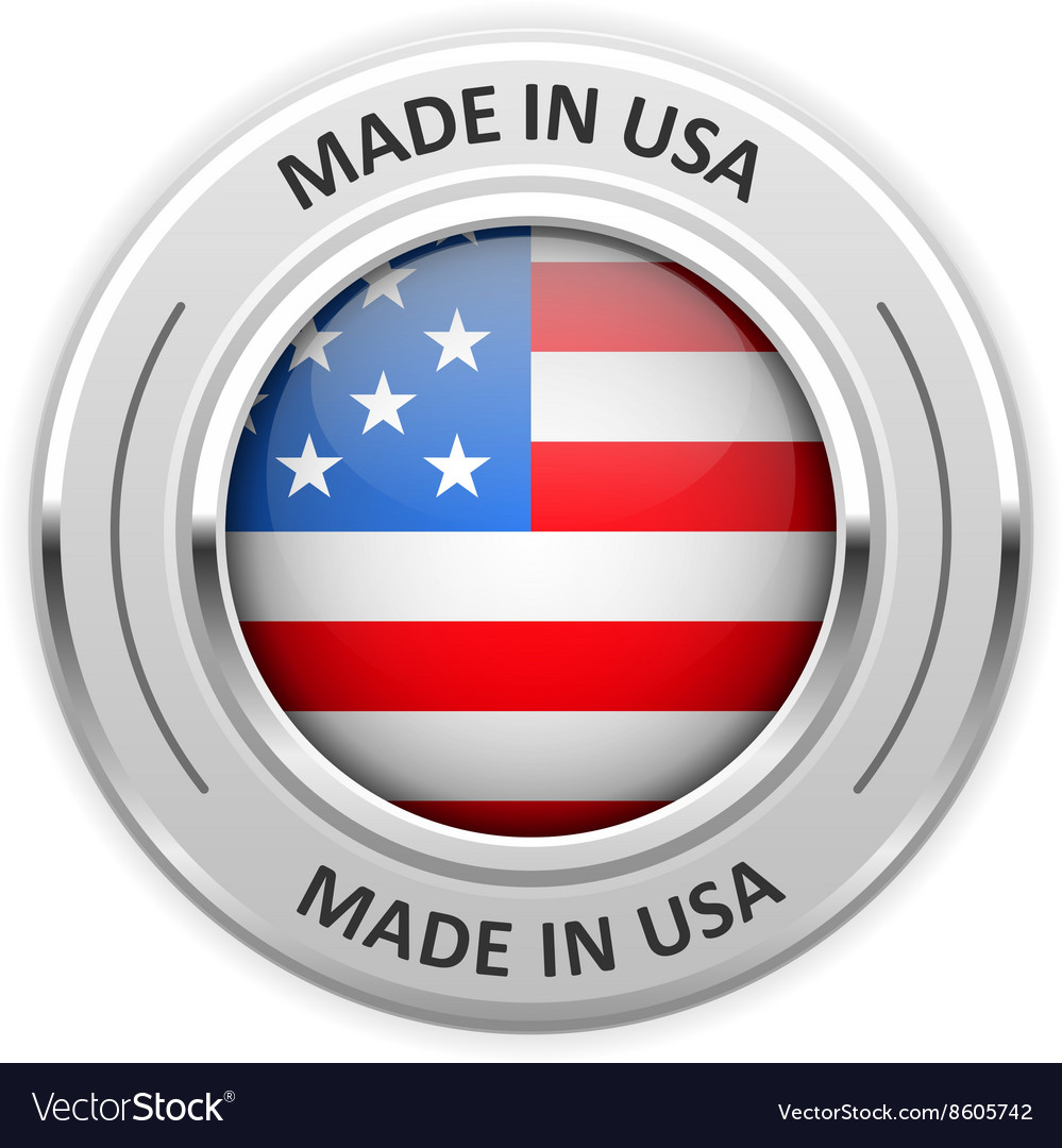 Silver medal Made in USA with flag