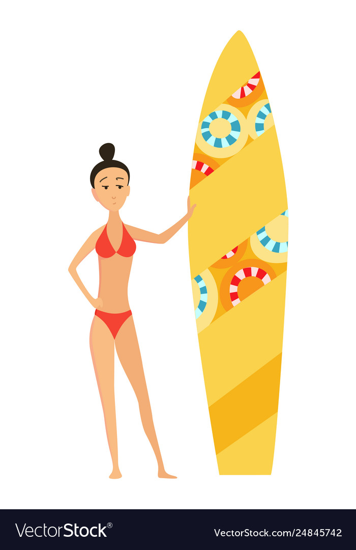 Summer surfing girl or