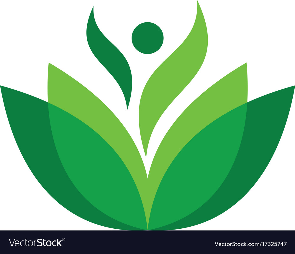 Abstract leaf human eco logo