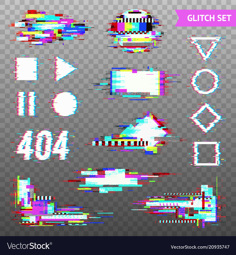 Digital elements in distorted glitch style