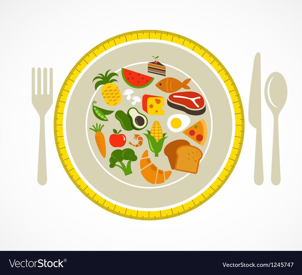 Health food plate vector image