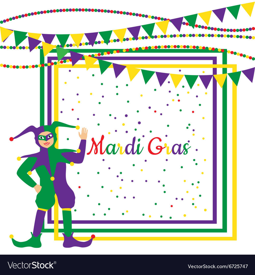 Mardi Gras Party Frame with harlequin Royalty Free Vector