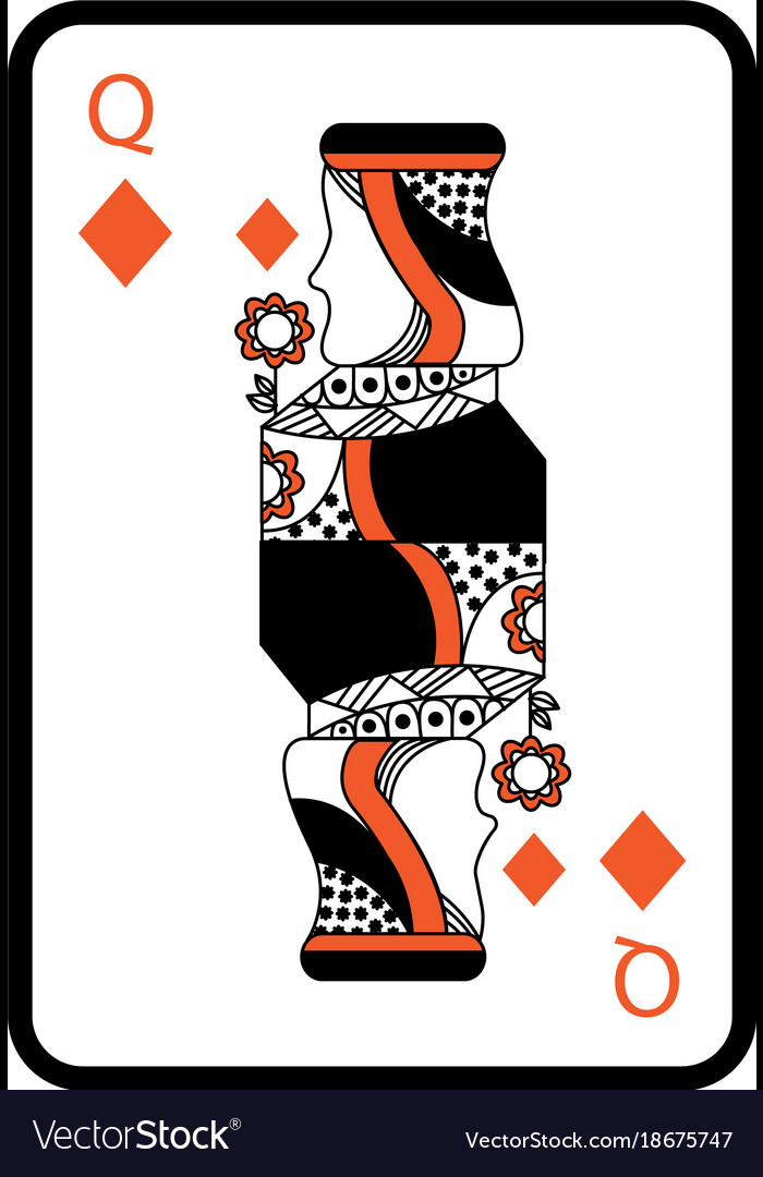 Queen Of Diamonds Playing Card Casino Poker Vector Image