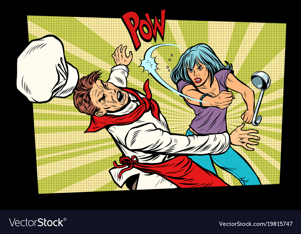 Restaurant food unhappy woman fights with the vector image