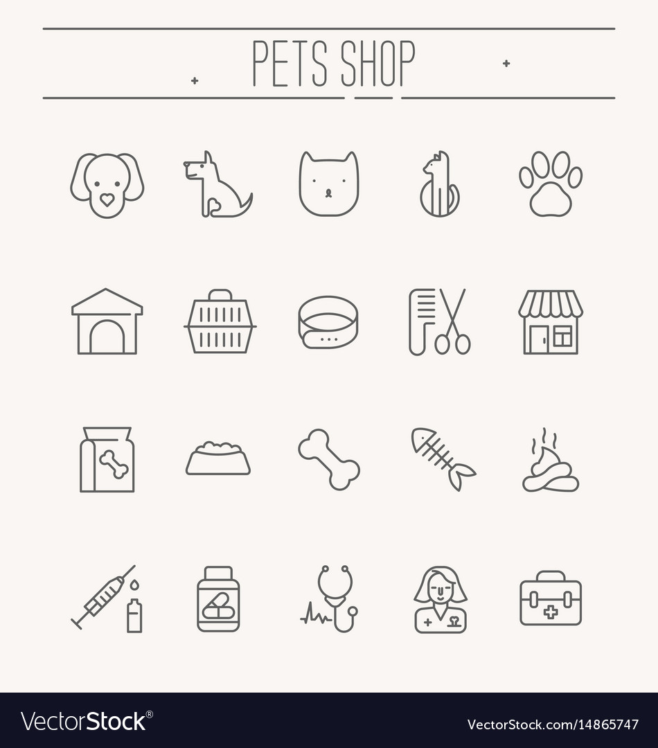Set of icons for vet clinic pet shop dog