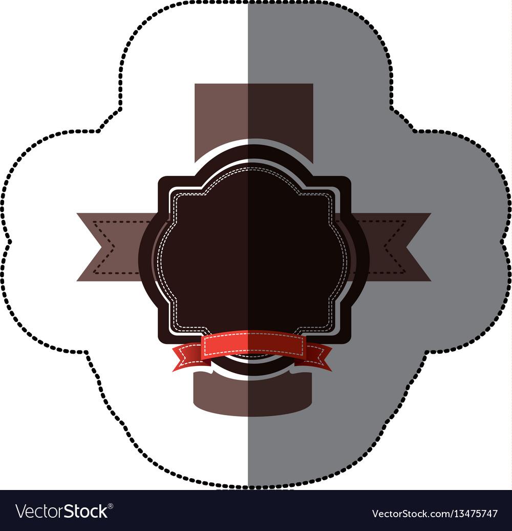 Sticker realistc black heraldic ornament vector image