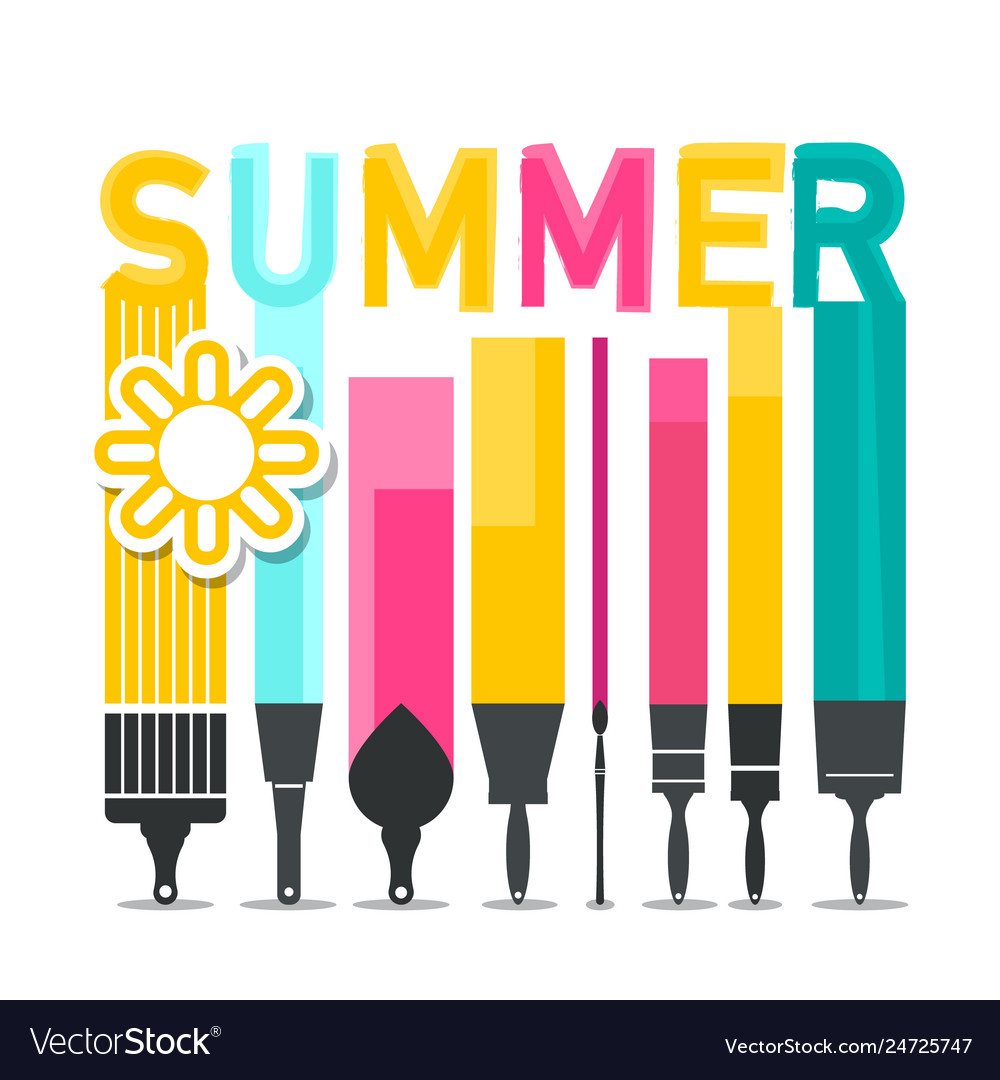 Summer symbol with brushes and sun symbol