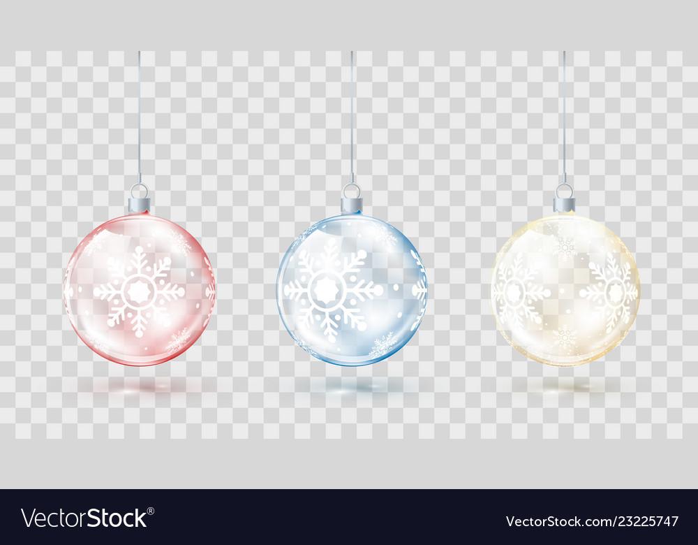 Template of glass transparent christmas balls