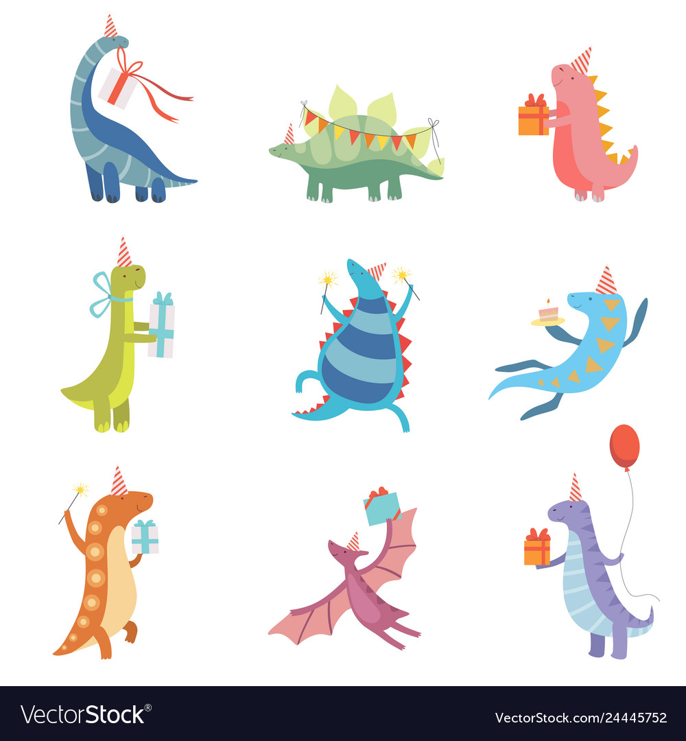 Collection cute colorful dinosaurs in party