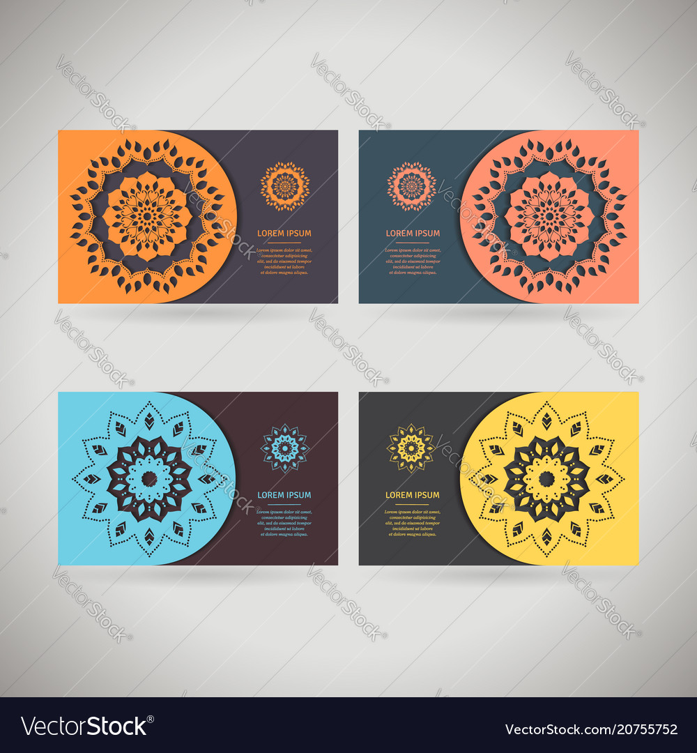 Colorful ornamental template for business card