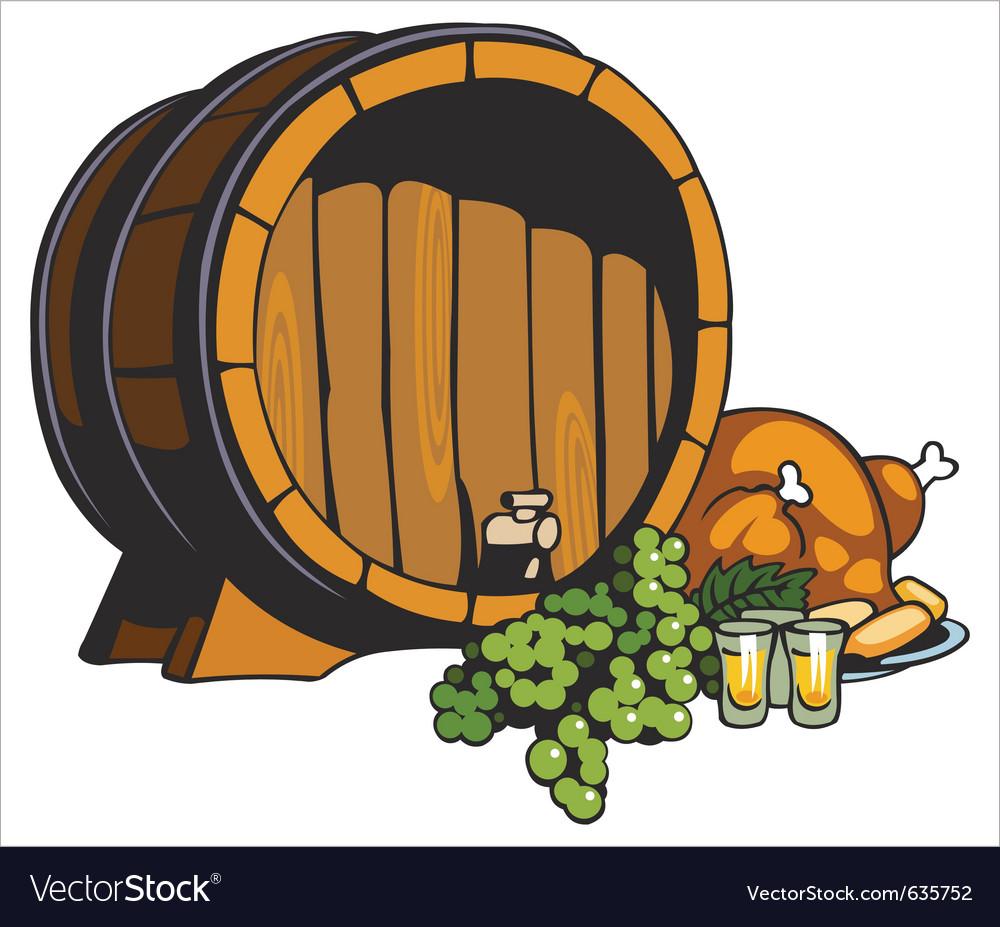 Fruit wine barrel vector image
