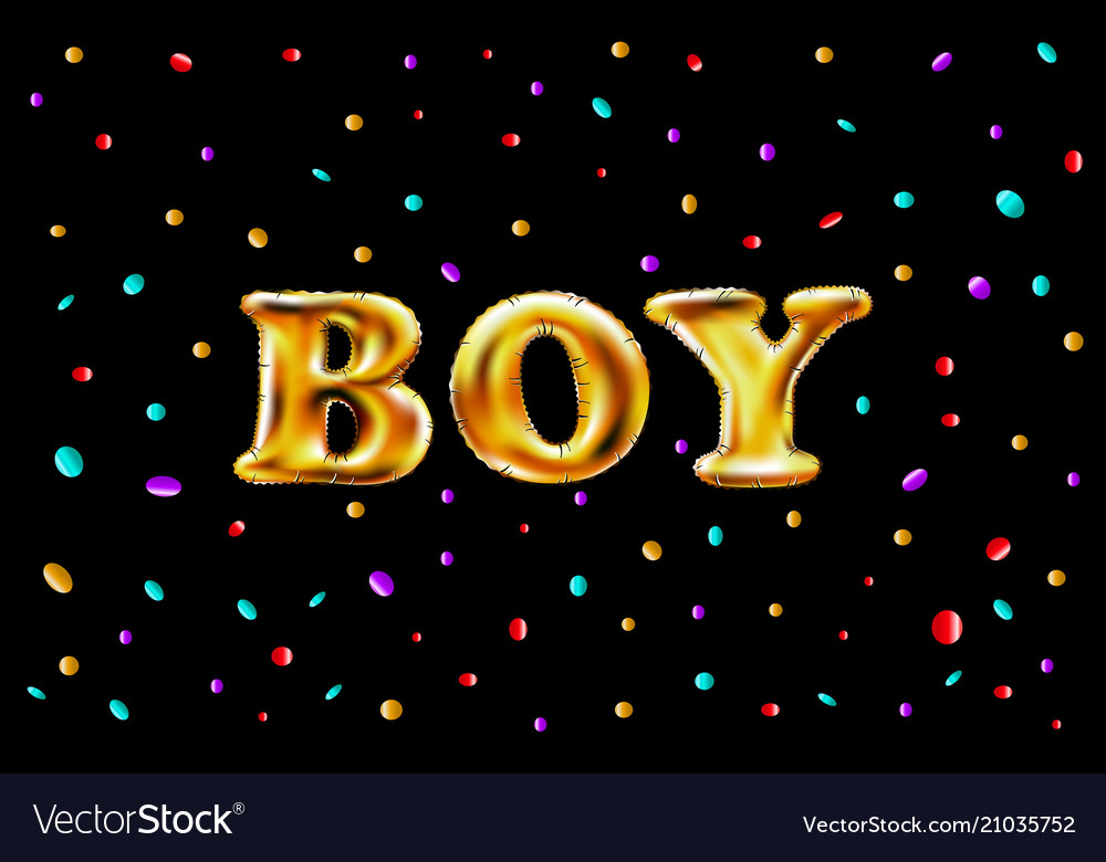 Gold letter boy shine glossy metalic balloons