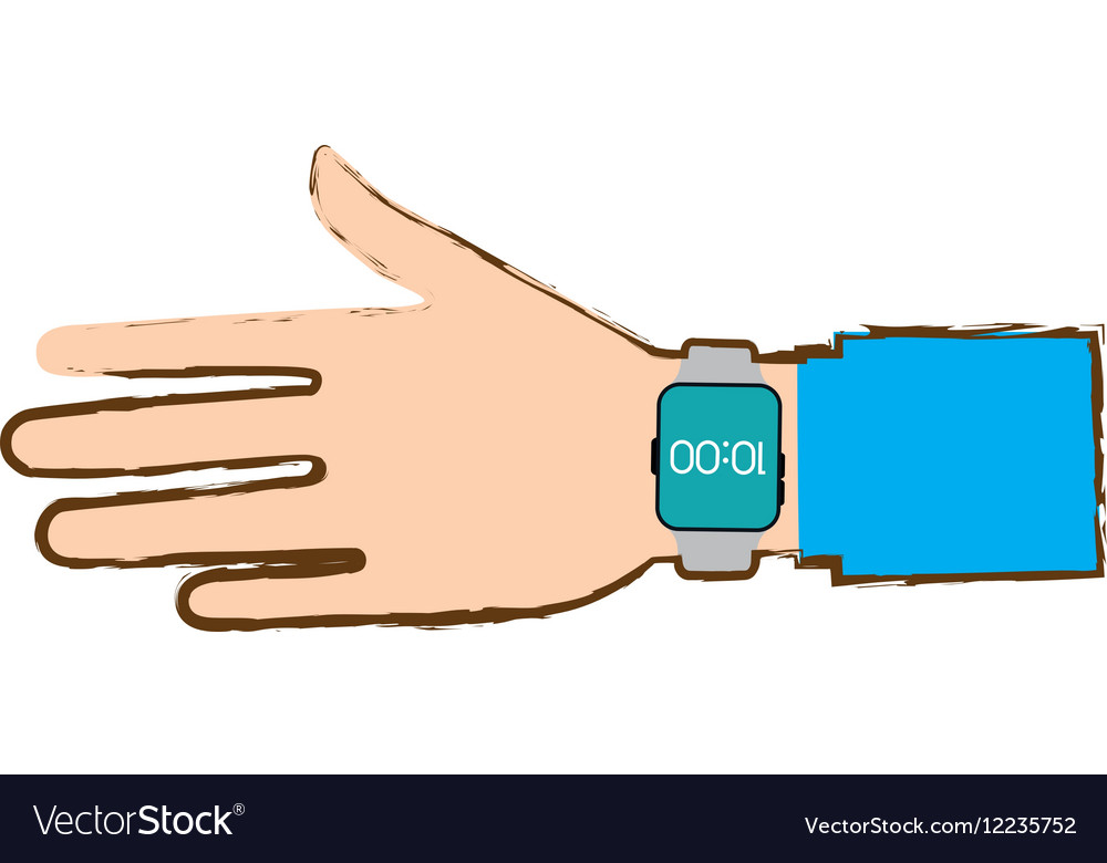 Hand with smart watch trendy wearable blue