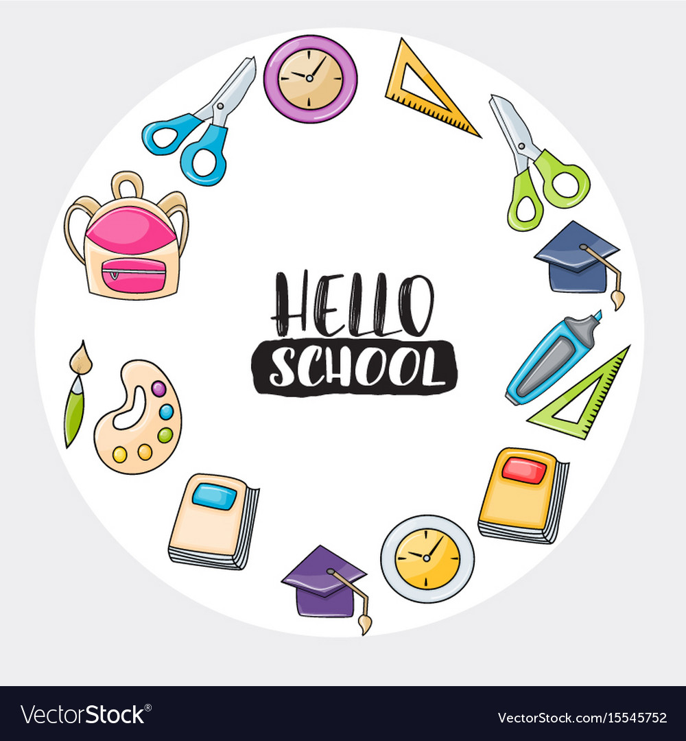 Hello school doodle clip art greeting card vector image m4hsunfo