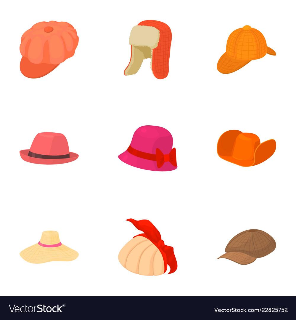 Lukewarm hat icons set cartoon style Royalty Free Vector 57a6128dc2cc