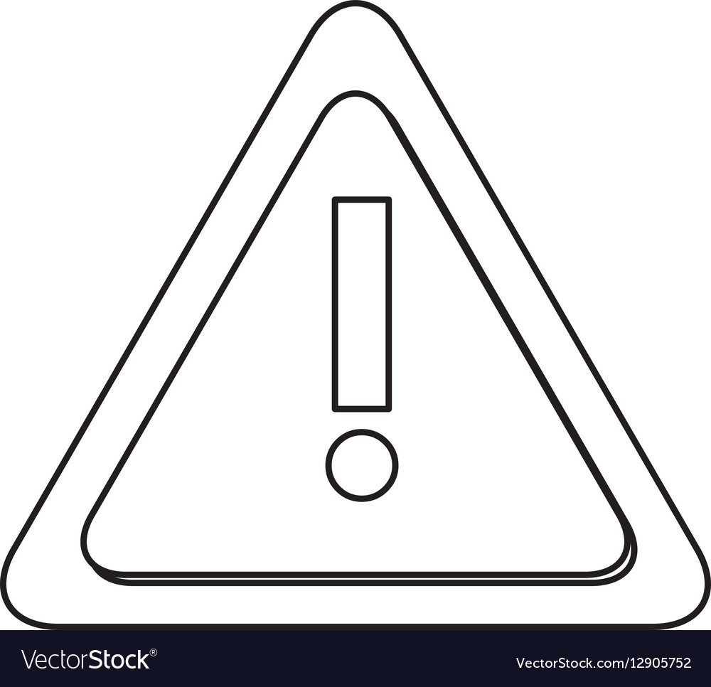 Monochrome contour with triangle exclamation sign vector image