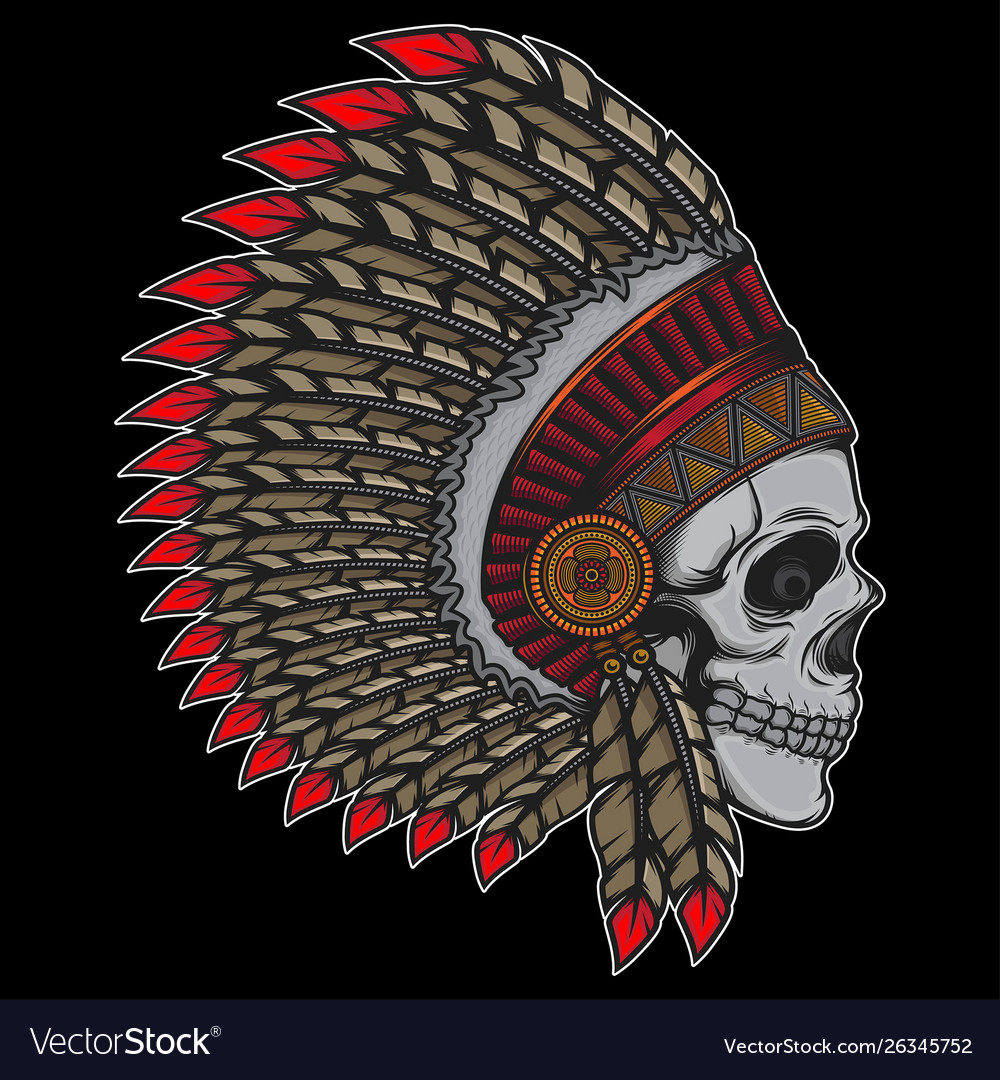 Printdesign indian chief old skull