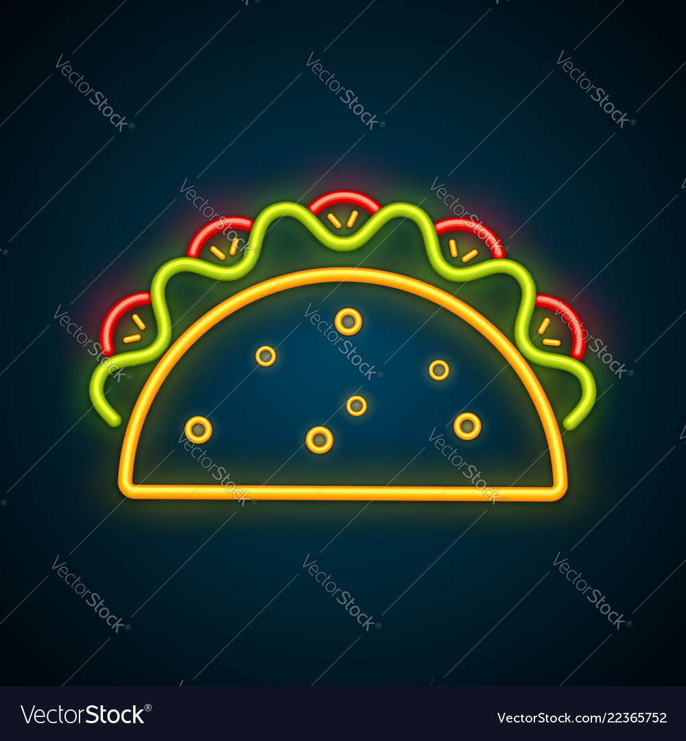 Traditional mexican taco advertising neon sign
