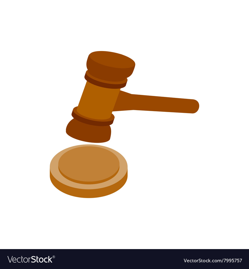 A wooden judge gavel and soundboard icon vector image