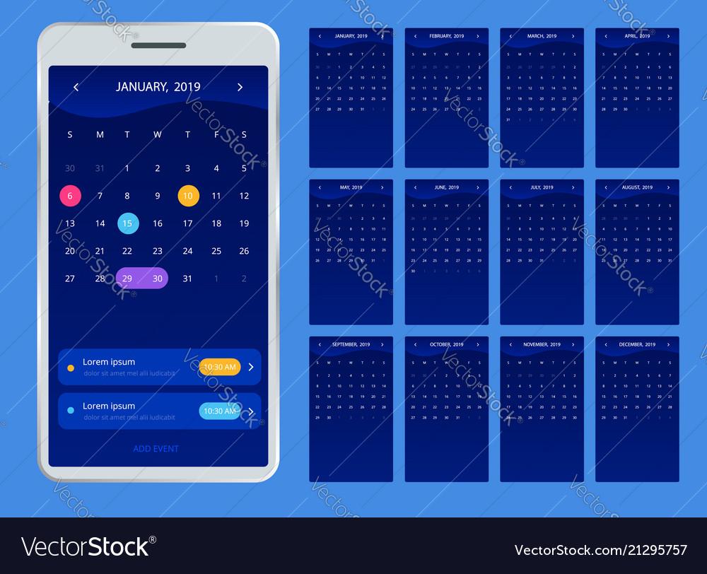 Calendar 2019 for phone calendar for 2019