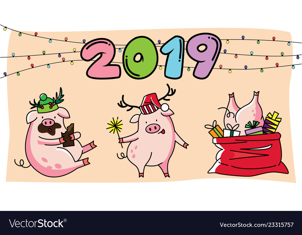 Cute three pink pigs new year 2019