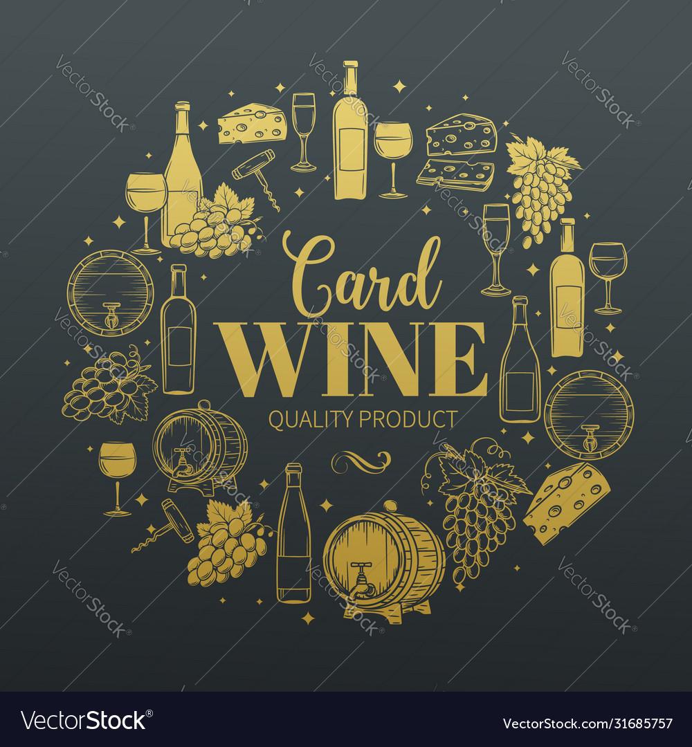 Decorative vintage wine icons
