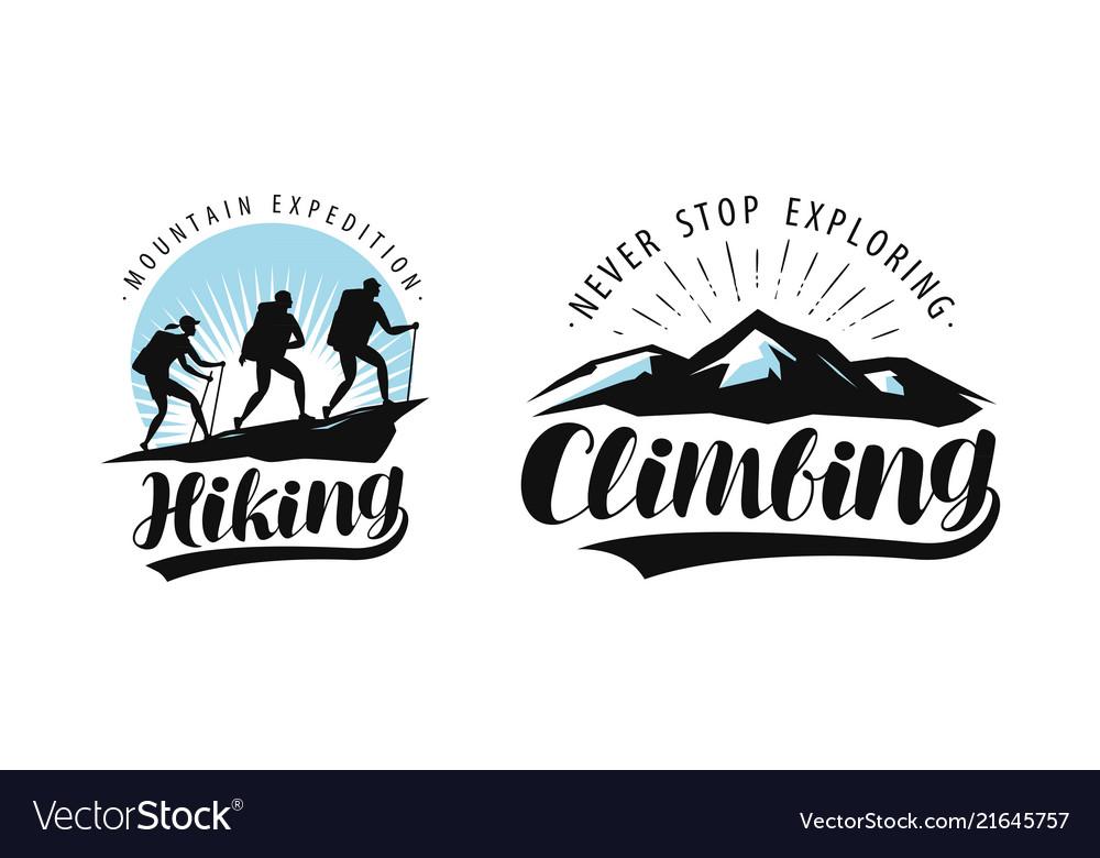 Hiking climbing logo or label camping trip