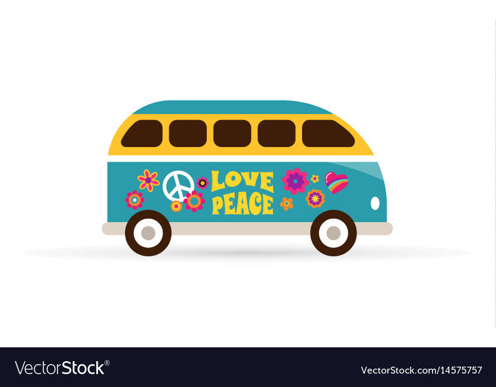 Hippie bohemian blue van - love and peace