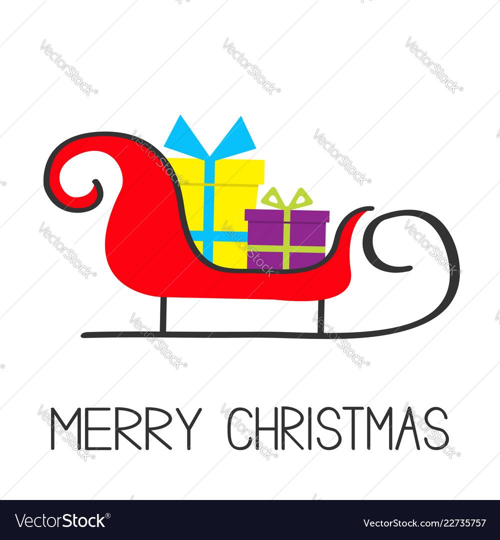 Merry christmas santa claus sleigh with gift box