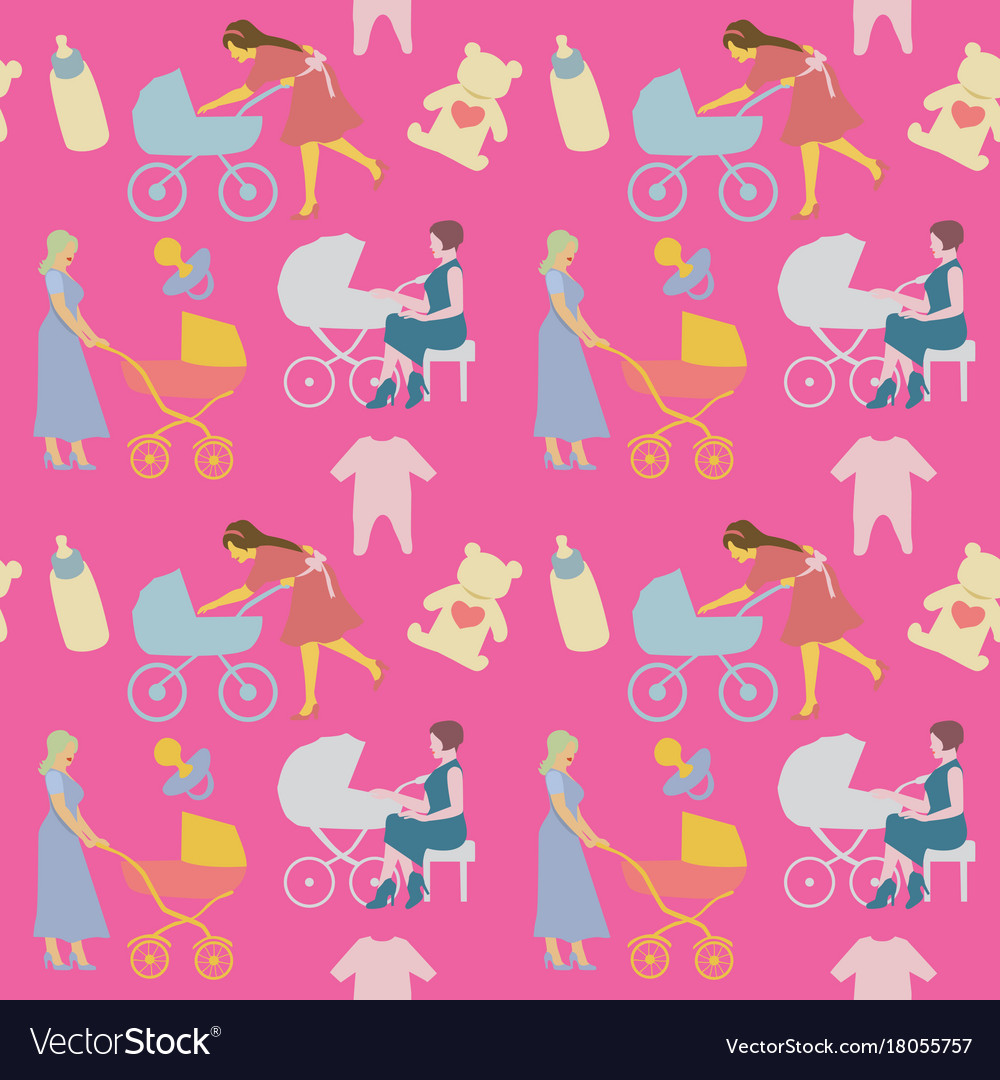 Mother with pram seamless pattern in retro style