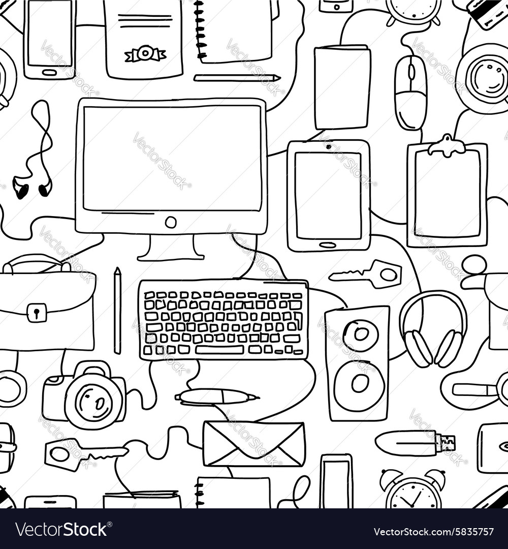 Seamless pattern with digital office devices