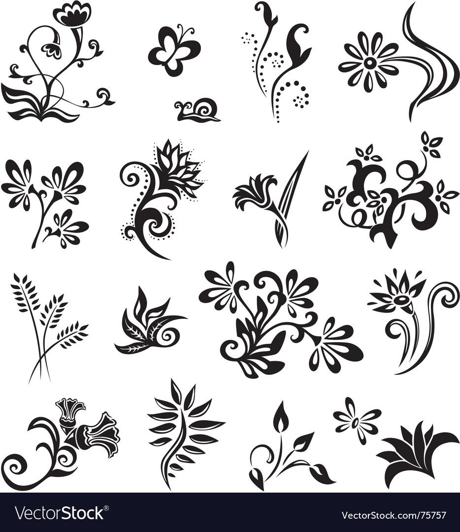 Set Of Black Flower Design Elements Stock Vector: Set Of Floral Design Elements Royalty Free Vector Image