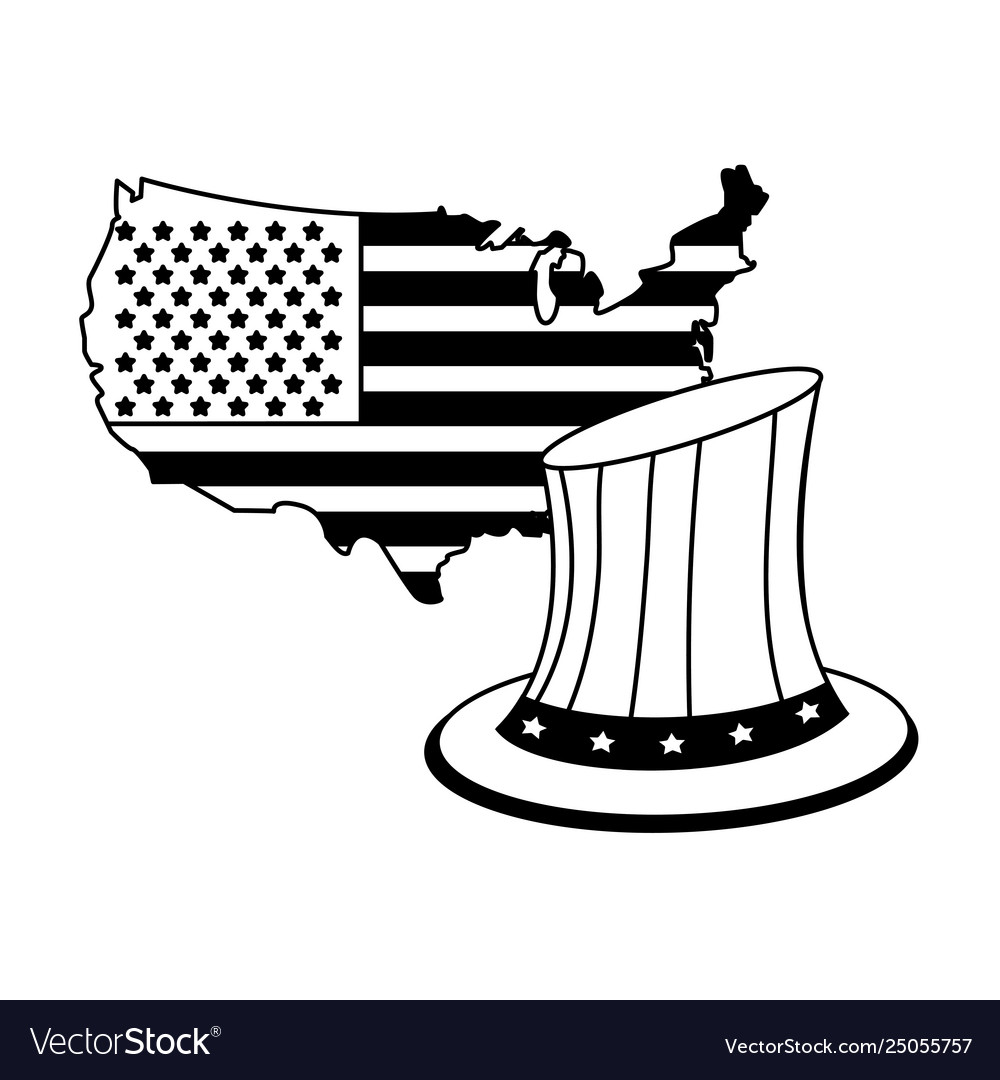 United states map outline with hat patriotic in
