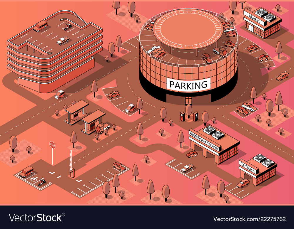 3d isometric territory with multi-storey