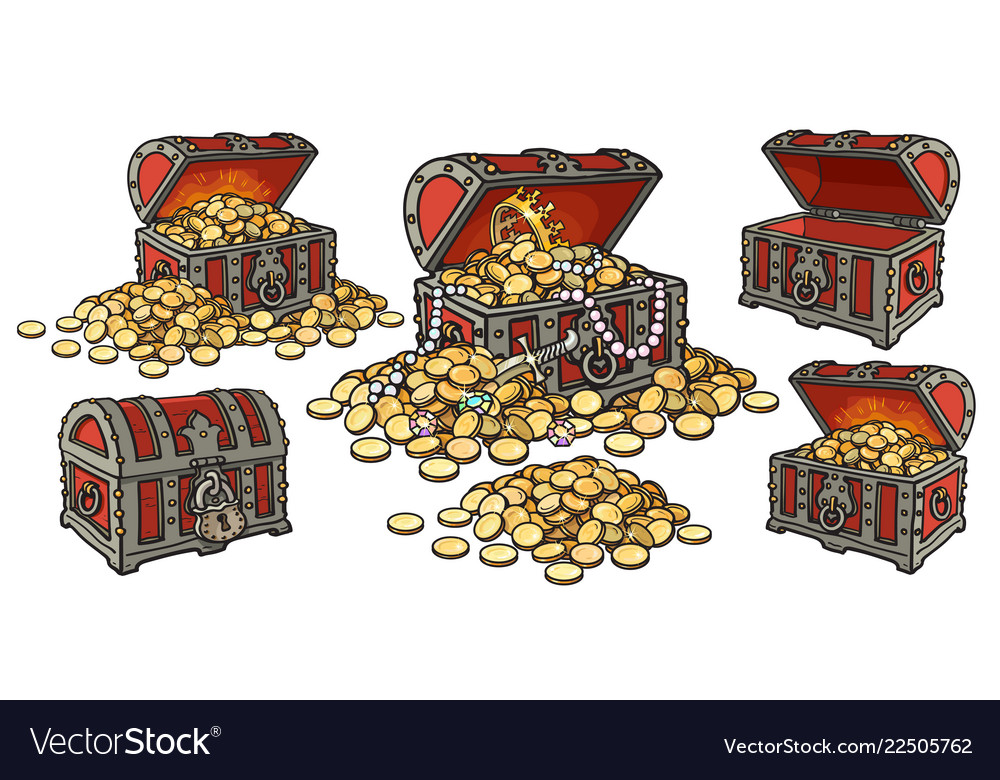 Cartoon set of pirate treasure chests open and