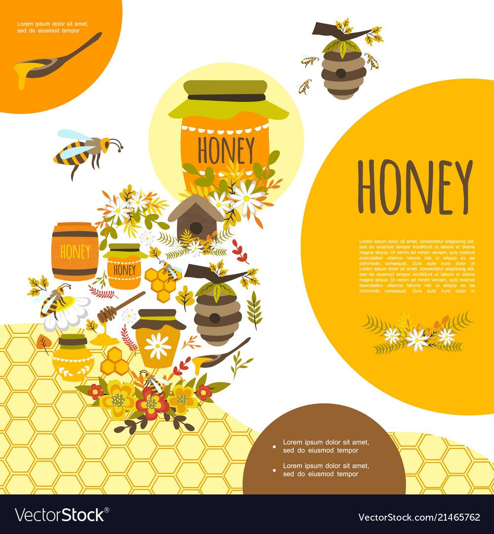Flat beekeeping colorful template