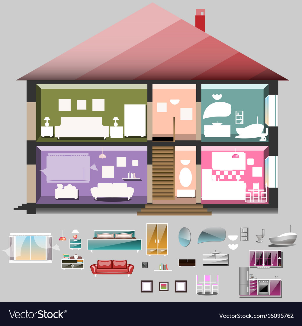 House in cut rooms with furniture vector image