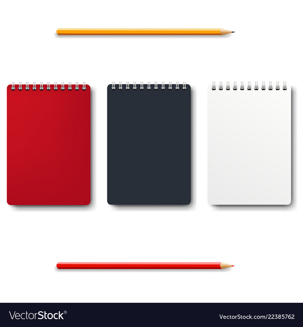 Notebook isolated with pencils white background