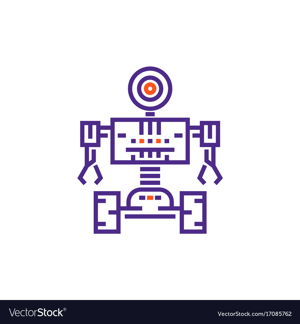 Robotics Robot In Linear Style Royalty Free Vector Image